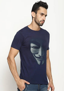 Men's Navy Blue Cotton Printed Round Neck Tees Tees GlowRoad