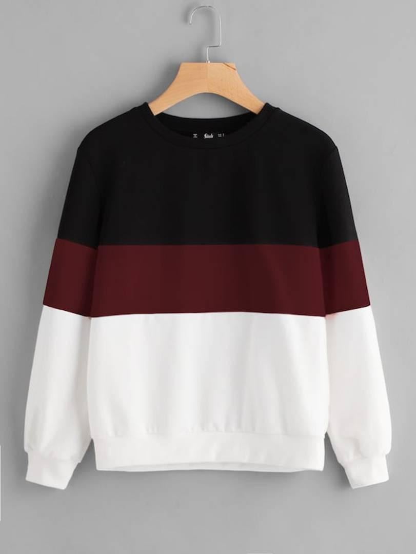 White With Black And Maroon Strip Sweat Shirt Pullover GlowRoad