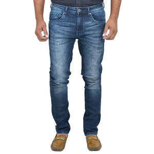 Men's Blue Denim Faded Slim Fit Mid-Rise Jeans Mid-Rise Jeans GlowRoad