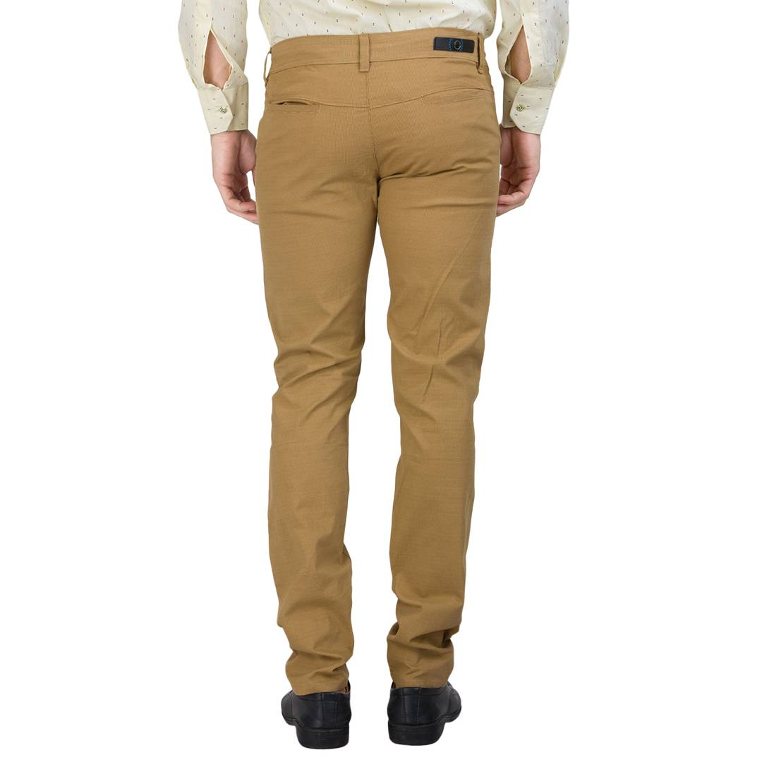Men's Brown Cotton Blend Solid Casual Trouser Low-Rise GlowRoad