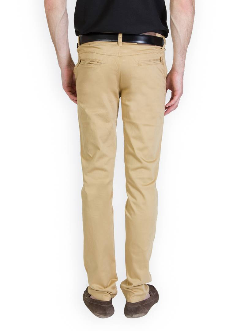 Men's Beige Cotton Blend Solid Casual Trouser Low-Rise GlowRoad