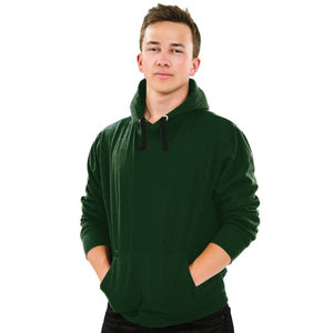 Men's Green Cotton Solid Long Sleeves Hooded Pullover Hoodies GlowRoad