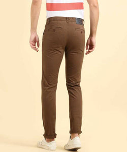 Men's Brown Cotton Blend Solid Mid-Rise Slim Fit Regular Casual Trouser Mid-Rise GlowRoad