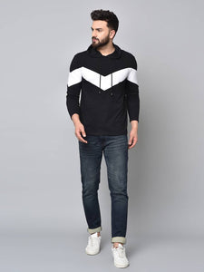 Men's Black Colourblocked Cotton Hooded Tees Tees GlowRoad