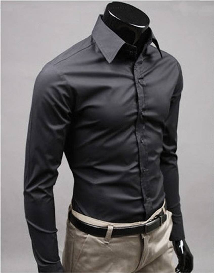 Men's Premium Black Formal Shirt Long Sleeve GlowRoad