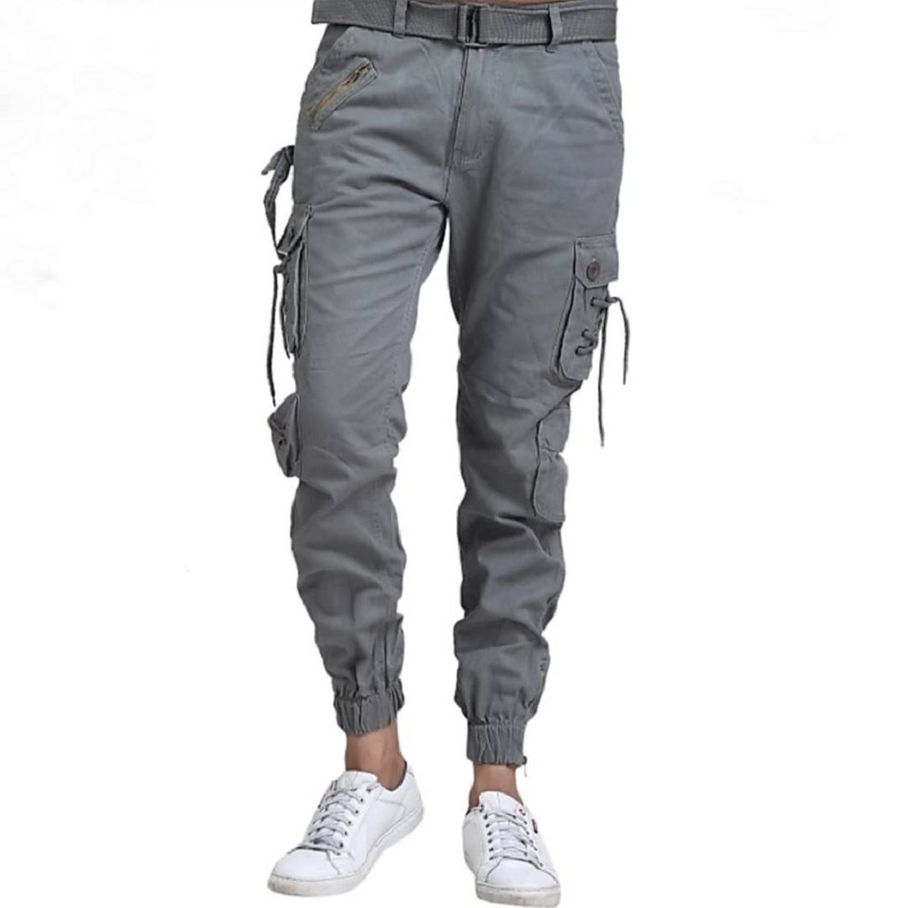 Men's Grey Cotton Solid Regular Fit Cargo GlowRoad