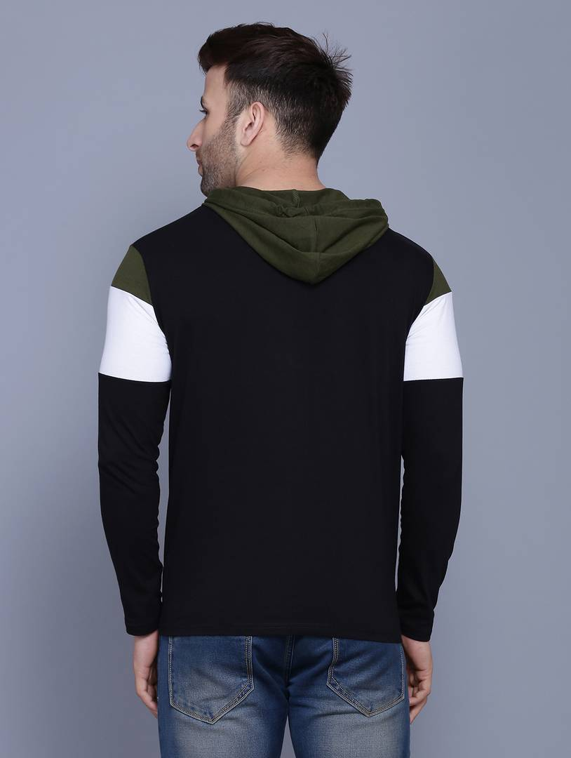 Men's Olive Green Colourblocked Cotton Hooded T Shirt Tees GlowRoad