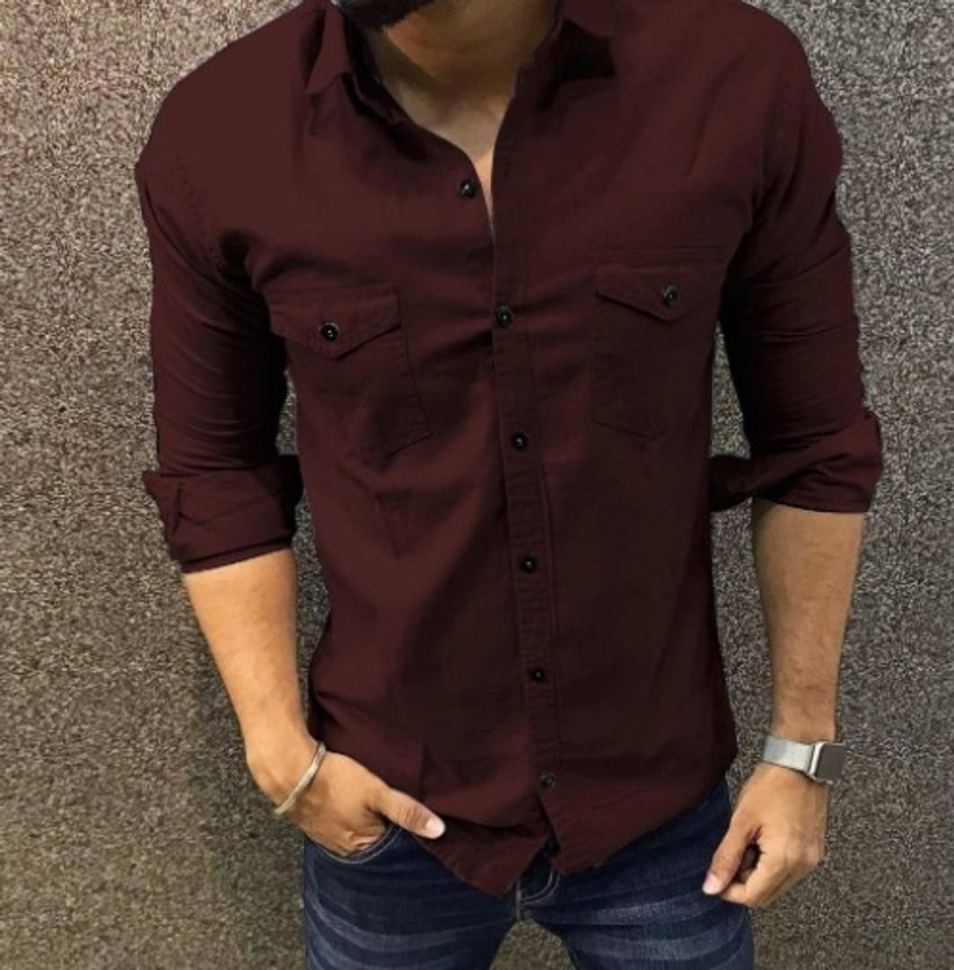Maroon Cotton Solid Long Sleeves Casual Shirt GlowRoad