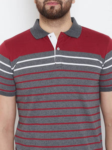 Men's Charcoal Short Sleeves Striped Polo Collar Tshirts Polos GlowRoad
