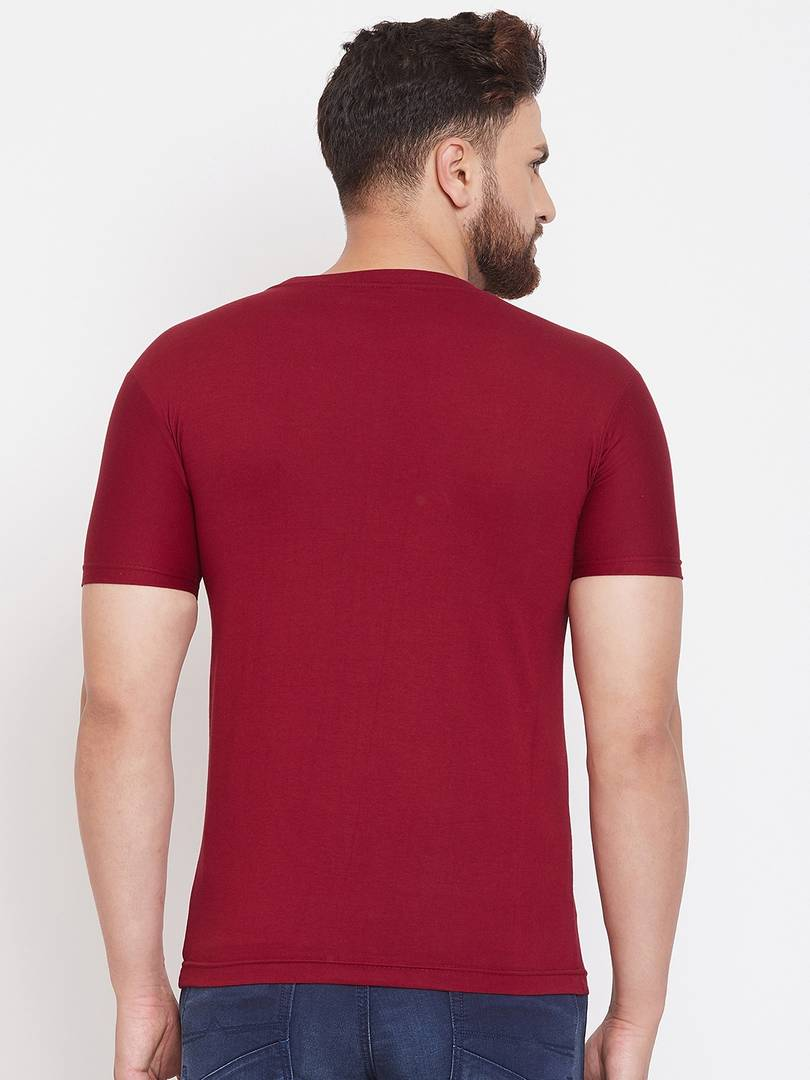 Men's Maroon Printed Cotton Blend Round Neck Tees Tees GlowRoad