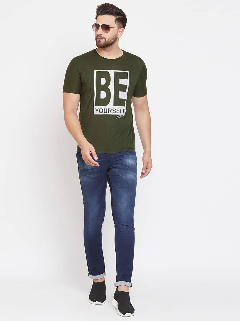 Men's Olive Printed Cotton Blend Round Neck Tees Tees GlowRoad