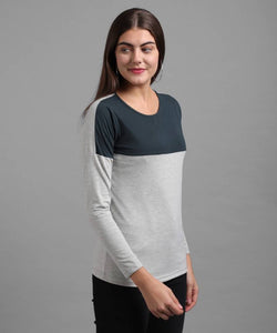 Elizy Women Grey Plain Upper Sea Green T-shirt Regular Length GlowRoad