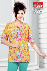 Fashionable American Crepe Printed Top For Women Regular Length GlowRoad
