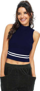 Women's Navy Blue Polycotton Crop Length Top Crop Length GlowRoad