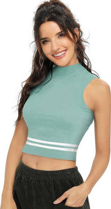 Women's Green Polycotton Crop Length Top Crop Length GlowRoad