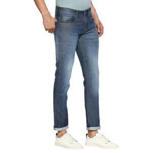 Dark Blue Denim Stretch Slim Fit Jeans For Men's Mid-Rise Jeans GlowRoad