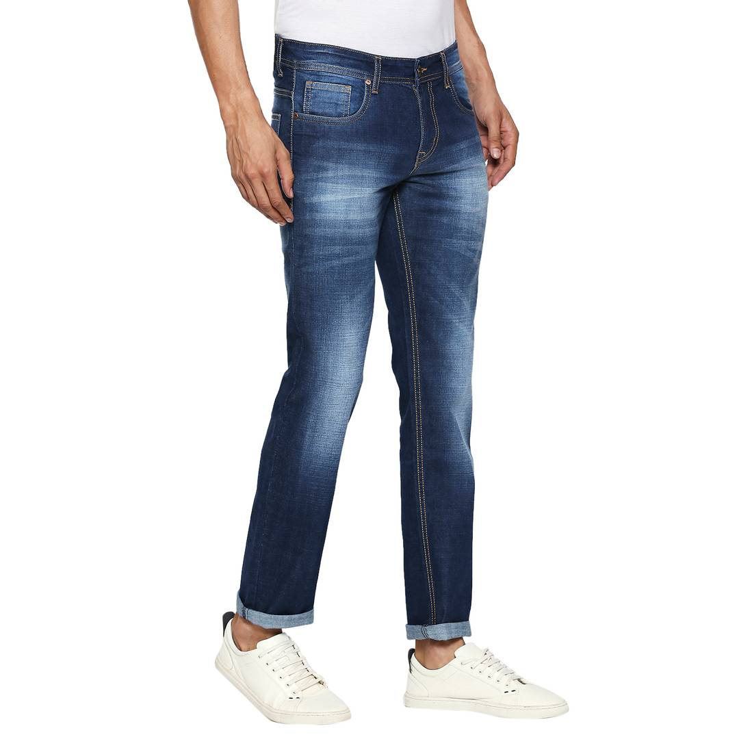 Blue Indigo Denim Stretch Slim Fit Jeans For Men's Mid-Rise Jeans GlowRoad