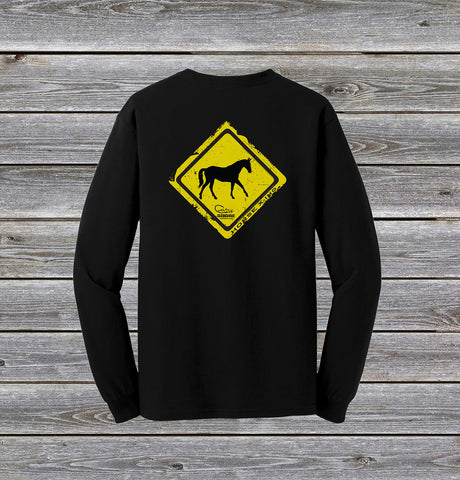 Horse Crossing Series Long Sleeve Tee with Pocket