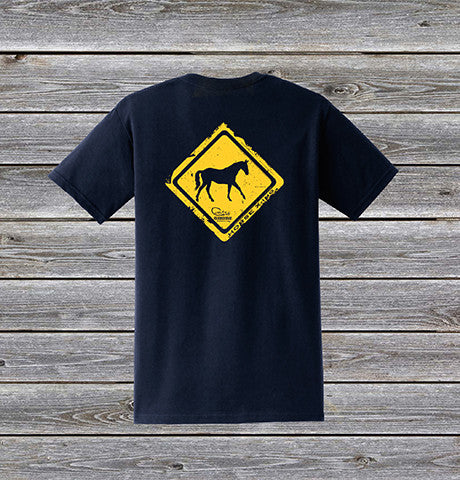 Horse Crossing Series Short Sleeve Tee with Pocket