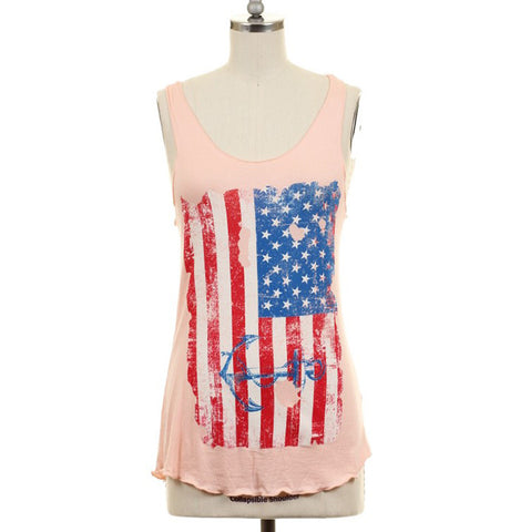 American Flag Tank Top with Anchor