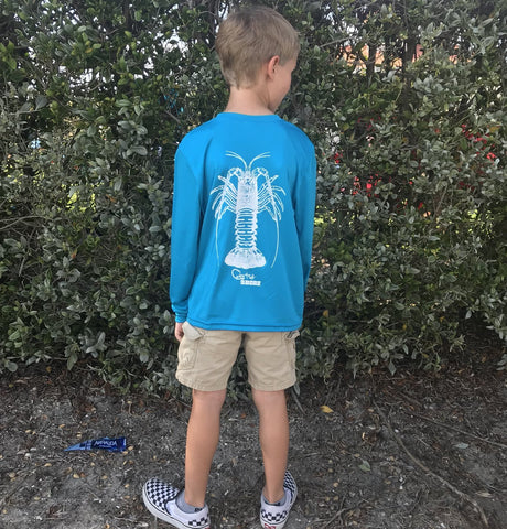 Youth Atomic Blue Spiny Lobster UPF Dry Fit Long Sleeve Tee