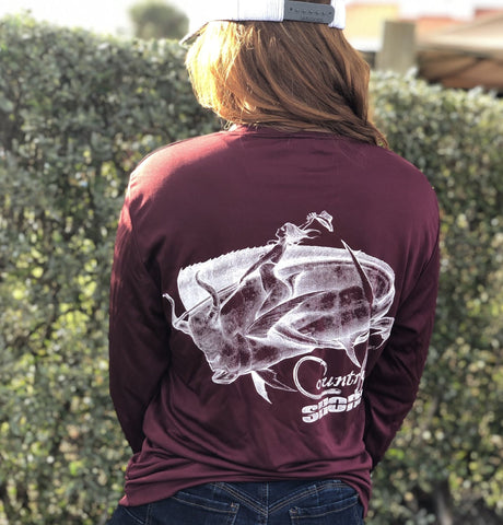 Maroon Bull Rider UPF Dry Fit Long Sleeve Tee
