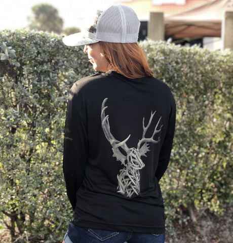 Black All Antler UPF Dry Fit Long Sleeve Tee