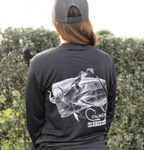 Charcoal Bull Rider UPF Dry Fit Long Sleeve Tee