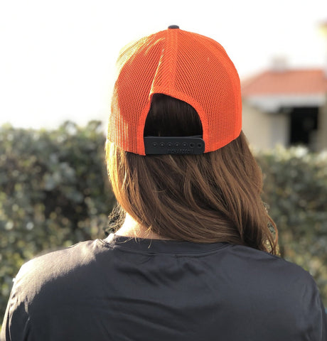 Signature Series Snapback Mesh Trucker Hat - Gray and Orange