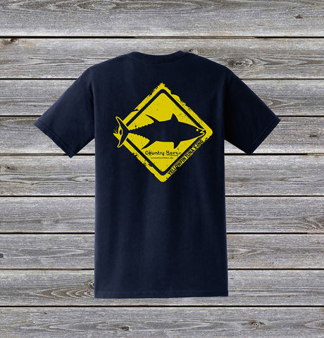 Yellowfin Tuna Crossing Series Short Sleeve Tee with Pocket