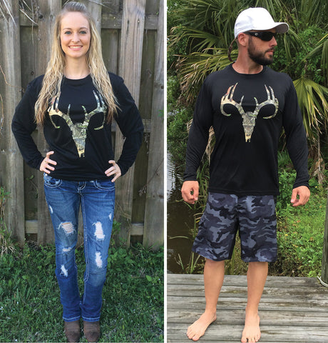Camo Deer Skull Black UPF Long Sleeve Tee