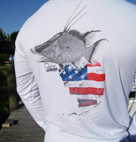 Florida Hogfish White UPF Long Sleeve Shirt