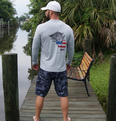 Florida Hogfish Gray UPF Long Sleeve Shirt