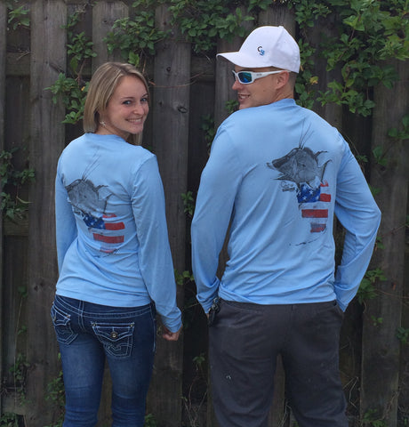 Florida Hogfish Light Blue UPF Long Sleeve Shirt