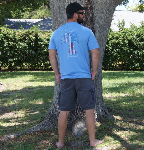 American Flag Spiny Lobster Carolina Blue Soft Performance T-Shirt