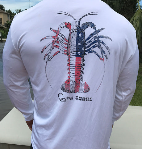 American Flag Spiny Lobster White UPF Long Sleeve Shirt