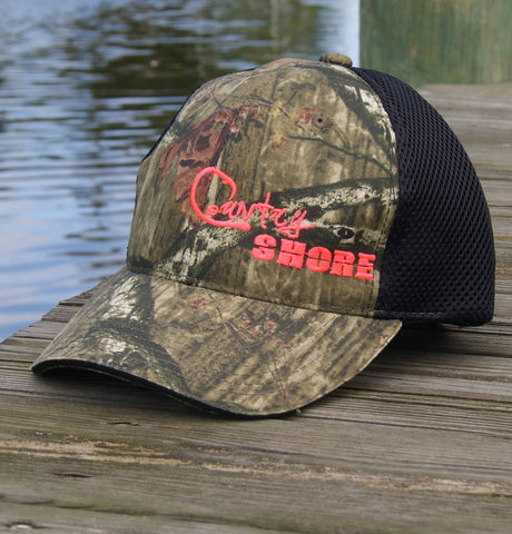 Pink Realtree Camo Hat with Velcro Strap Air Mesh Back - Black