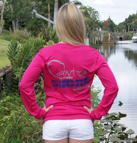 Signature Series Coral UPF Ladies V-Neck Long Sleeve Tee