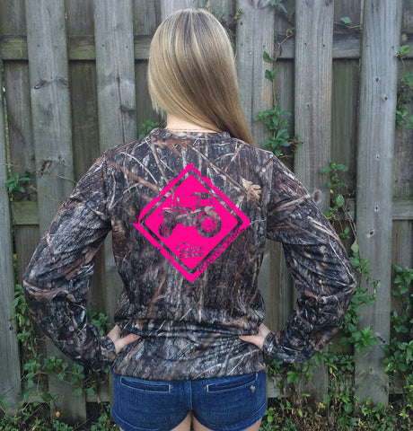 Tractor Crossing Pink Camo UPF Long Sleeve Shirt