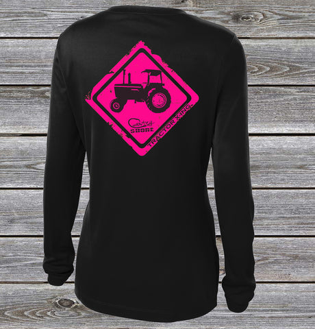 Tractor Crossing Pink UPF Long Sleeve Shirt