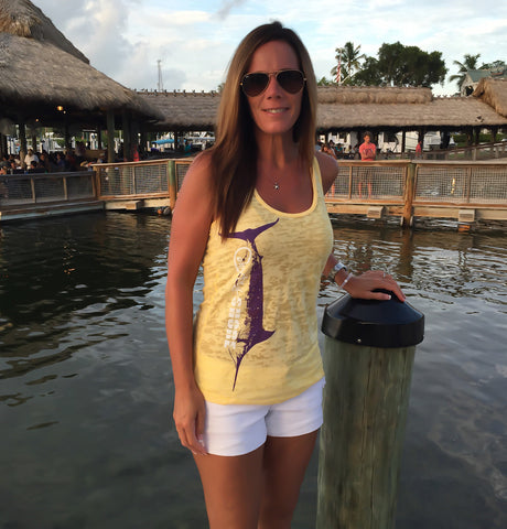 Burnout Yellow Marlin Tank Top
