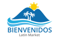 The Bienvenidos Market Logo. It contains two blue mountains, two coconut trees, a bright yellow side between the moutains and light blue waves hitting the mountains.