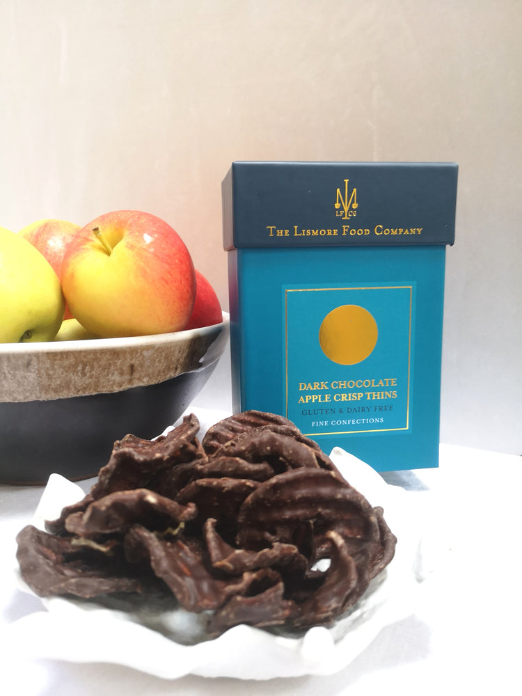 Lismore Dark Chocolate Apple Crisp Thins. Dairy & Gluten Free.