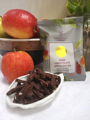 Load image into Gallery viewer, Lismore Dark Chocolate Apple Sticks. Only 115 calories per pack.