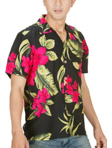 Floral Print Men's Button Down Hawaiian Luau Aloha Shirt