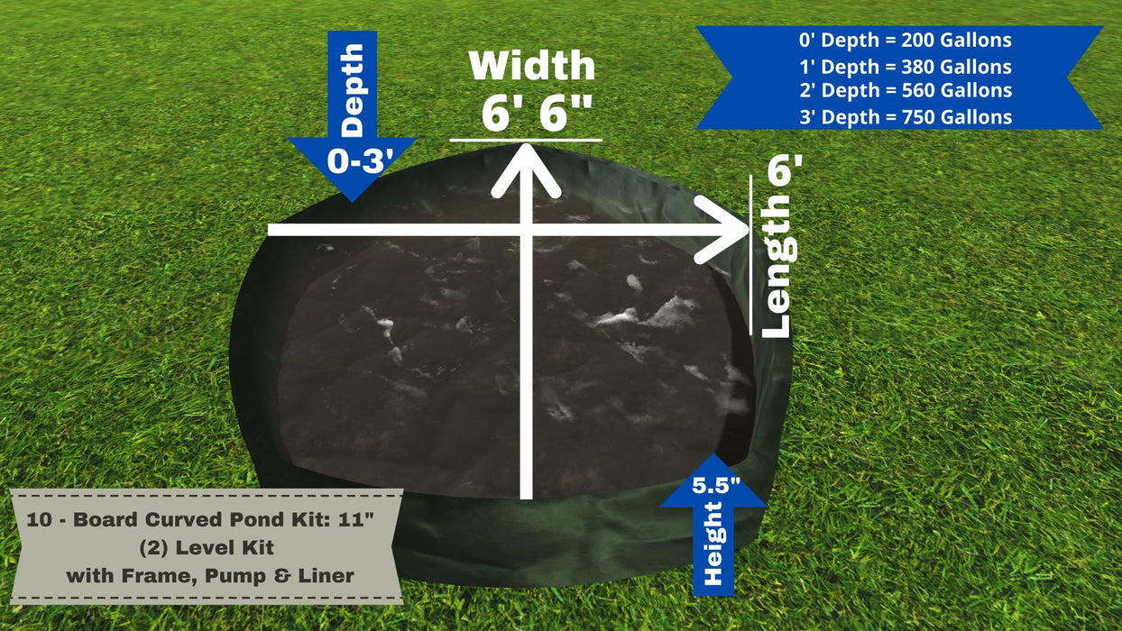 "5 - Board Curved Pond Kit - ""You Dig"" - Pond Series Water Gardens Frame It All No Dig Depth + 11"" Bed Height (2 Levels) = 200 Gallons Atlantic MD250"