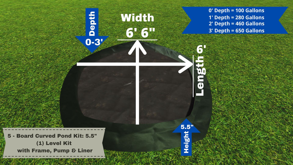 "5 - Board Curved Pond Kit - ""You Dig"" - Pond Series Water Gardens Frame It All No Dig Depth + 5.5"" Bed Height (1 Levels) = 100 Gallons Atlantic MD250"