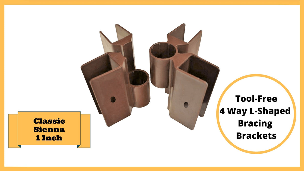 "Classic Sienna Tool-Free Snap-Lock Raised Garden Bed Brackets – 1"" (4) Way L-Shaped Bracing Bracket (1-Pack - Brown) Parts Frame It All"