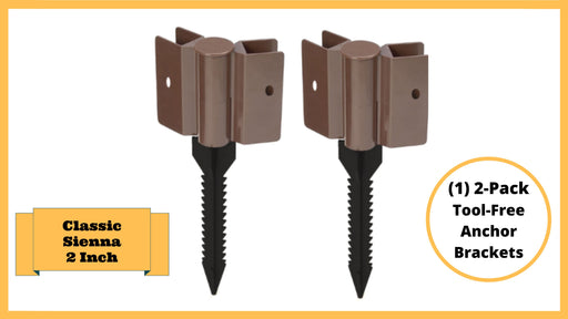 "Classic Sienna Tool-Free Snap-Lock Raised Garden Bed Brackets – 2"" Anchor Bracket (2 pack Brown) Parts Frame It All Brown Brackets 2"""