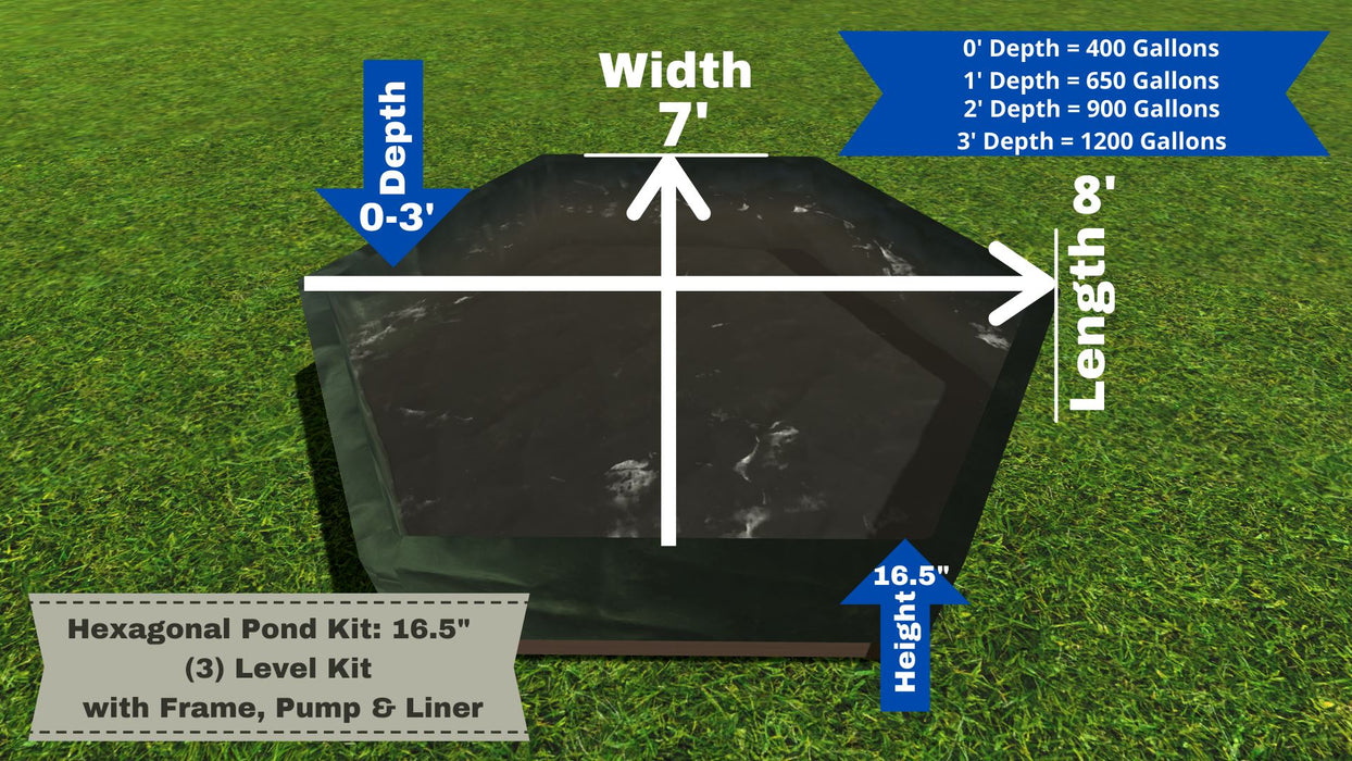 "Hexagonal Pond Kit - ""You Dig"" - Pond Series Water Gardens Frame It All No Dig Depth + 16.5"" Bed Height (3 Levels) = 400 Gallons Atlantic MD350"